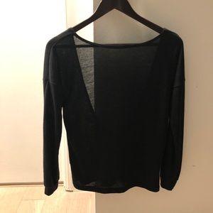 Tobi Open Back Black Long Sleeve Sweater